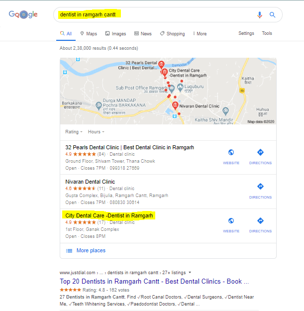 City Dental Care Google Ranking