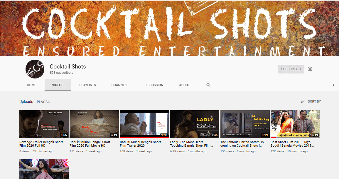 cocktail Shosts YouTube channel - Digital Rosogulla Client