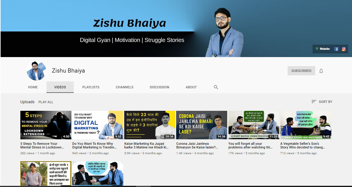 Zishu Bhaiya YouTube Channel - Digital Rosogulla Client